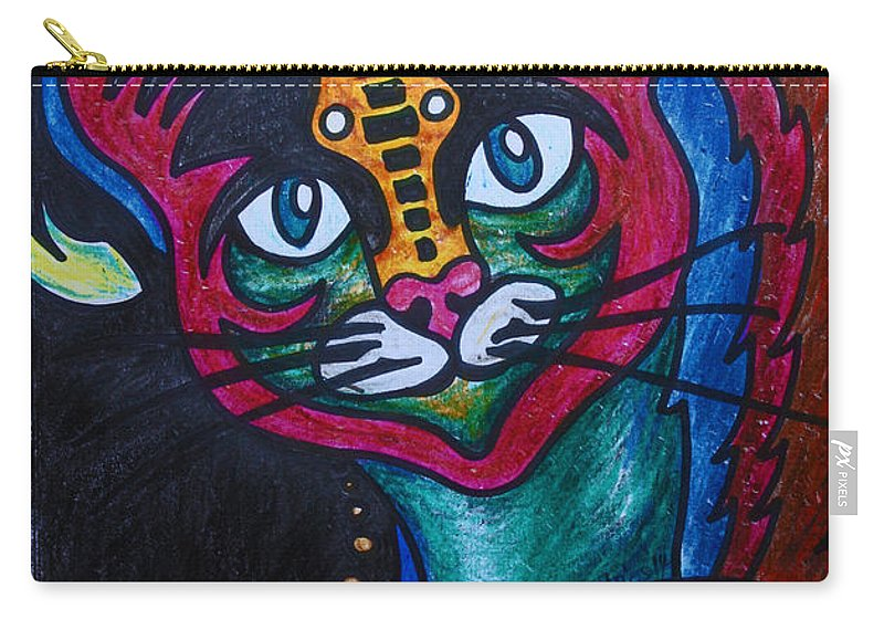 Cat Carry-all Pouch featuring the drawing Cat 2 by Carol Tsiatsios