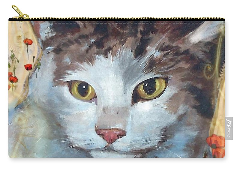 Cat Carry-all Pouch featuring the mixed media Cat and Poppies by Sarah Madsen