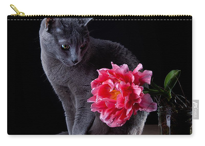Cat Carry-all Pouch featuring the photograph Cat And Tulip by Nailia Schwarz