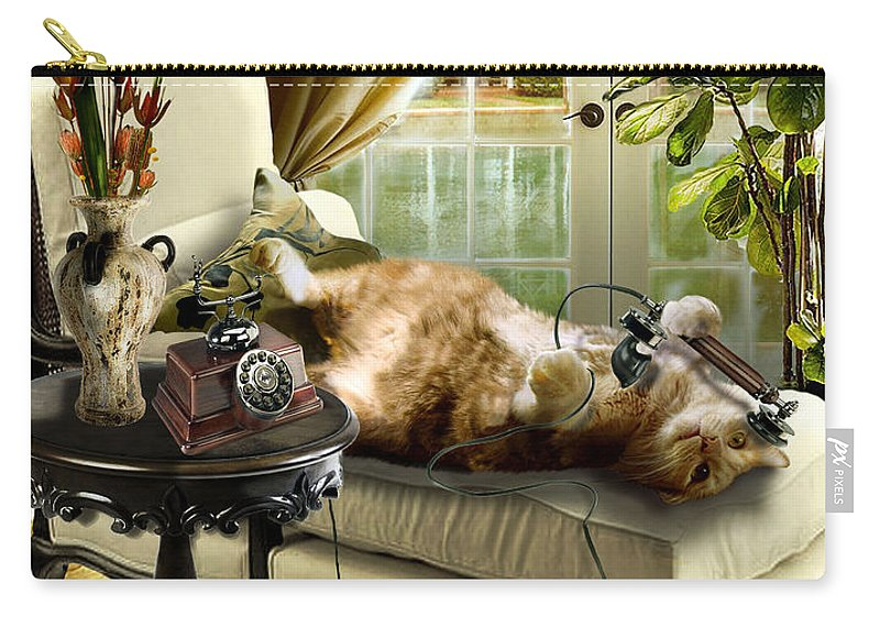 Pet Cat Painting Carry-all Pouch featuring the painting Funny pet talking on the phone by Regina Femrite