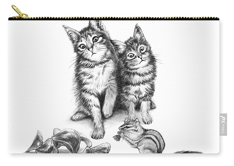 Cat Chips Carry-all Pouch featuring the drawing Cat Chips by Peter Piatt