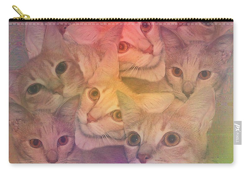 Cats Carry-all Pouch featuring the digital art Cat Collage by Diane Parnell