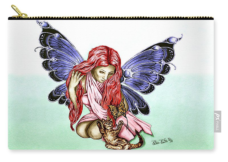 Cat Fairy Carry-all Pouch featuring the drawing Cat Fairy In Blue by Peter Piatt