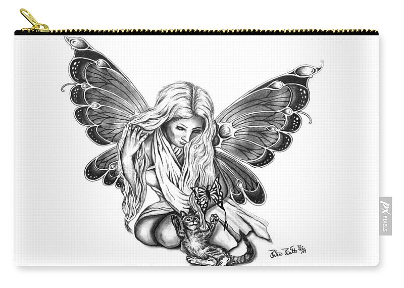 Cat Fairy Carry-all Pouch featuring the drawing Cat Fairy by Peter Piatt