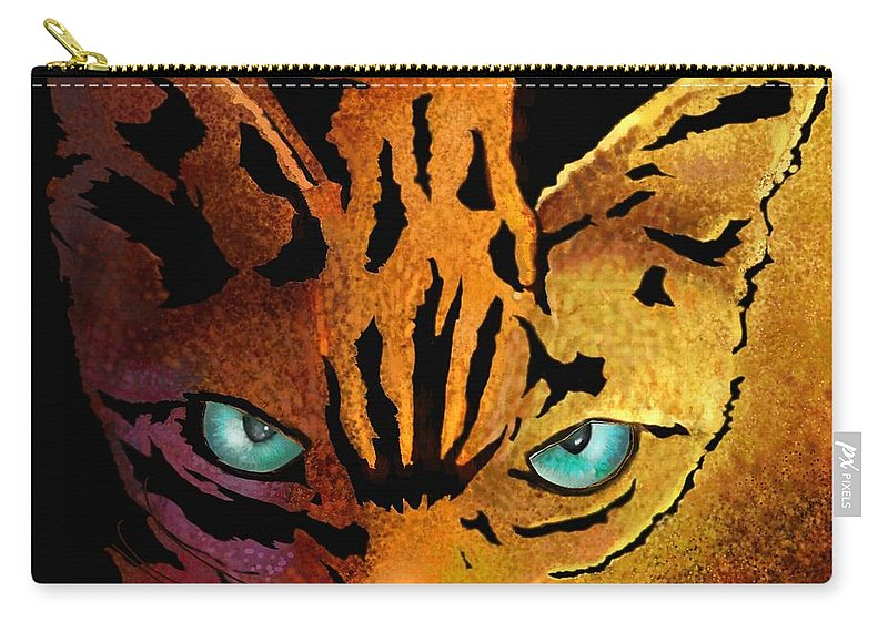 Cat Prints Carry-all Pouch featuring the digital art Cat. I'm Watching You by Marlene Watson