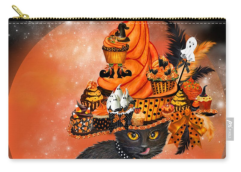 Cat Art Carry-all Pouch featuring the painting Cat In Halloween Cupcake Hat by Carol Cavalaris