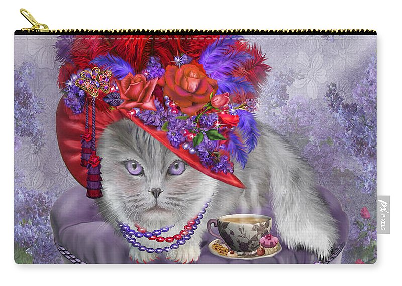 Cat Carry-all Pouch featuring the mixed media Cat In The Red Hat by Carol Cavalaris