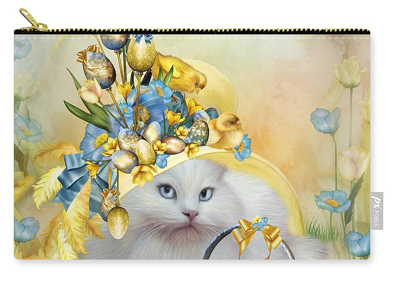 Cat Carry-all Pouch featuring the mixed media Cat In Yellow Easter Hat by Carol Cavalaris