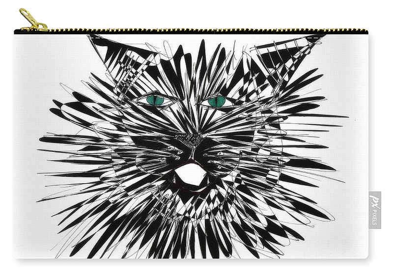 Cat Art Carry-all Pouch featuring the drawing Cat Iwan by Justyna JBJart