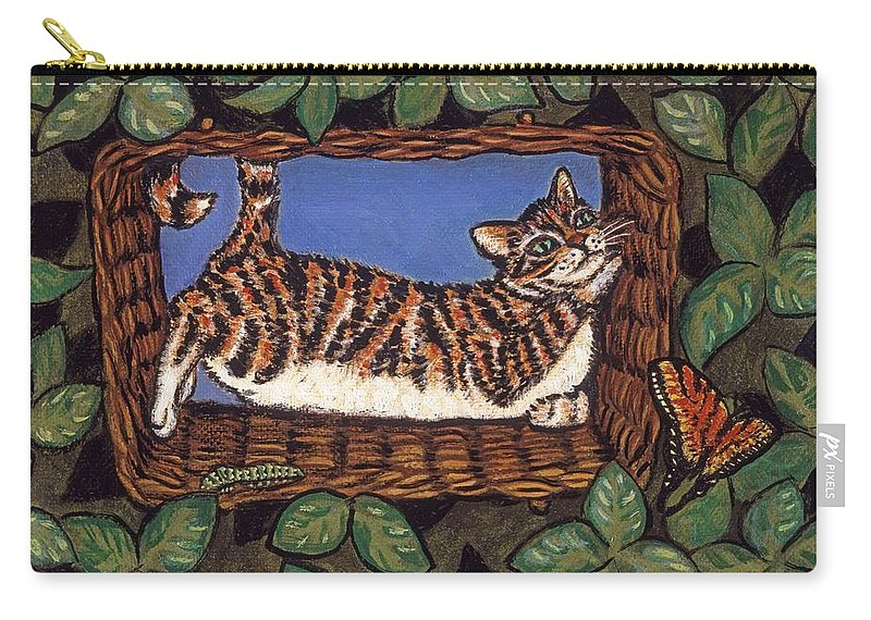 Folk Art Cat Carry-all Pouch featuring the painting Cat Napping by Linda Mears