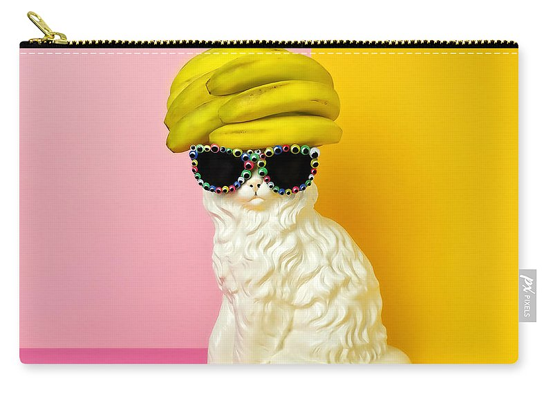 Statue Carry-all Pouch featuring the photograph Cat Wearing Sunglasses And Banana Wighat by Juj Winn
