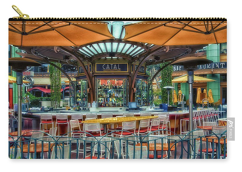 Disney Carry-all Pouch featuring the photograph Catal Outdoor Cafe Downtown Disneyland 01 by Thomas Woolworth