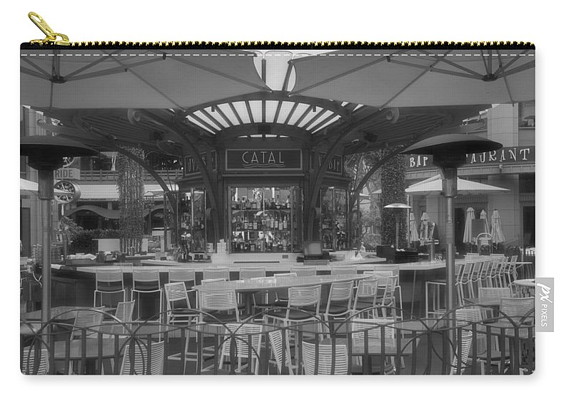 Disney Carry-all Pouch featuring the photograph Catal Outdoor Cafe Downtown Disneyland Bw by Thomas Woolworth