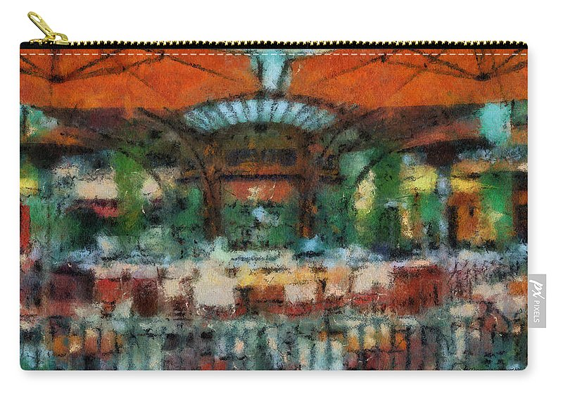 Disney Carry-all Pouch featuring the photograph Catal Outdoor Cafe Downtown Disneyland Photo Art 03 by Thomas Woolworth