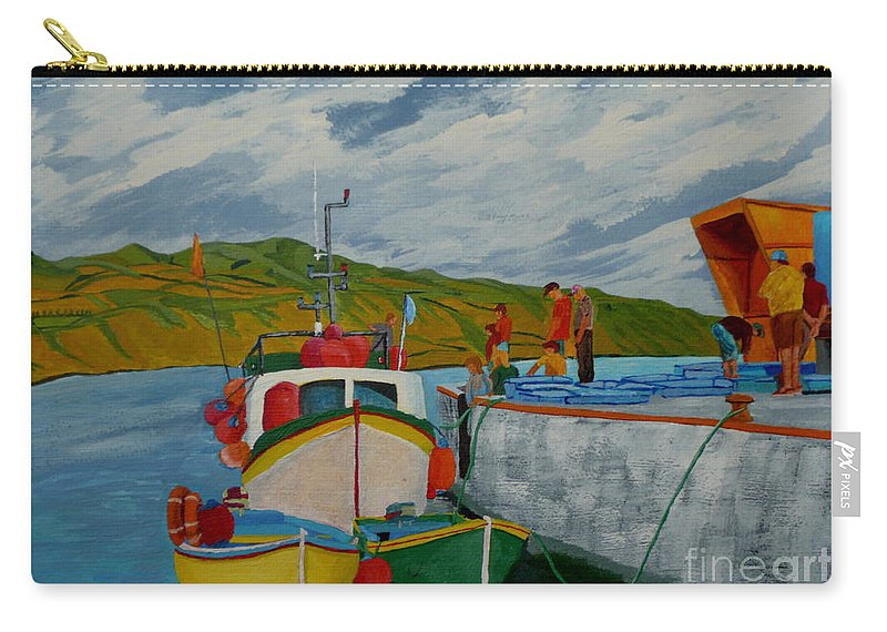Boats Carry-all Pouch featuring the painting Catch Of The Day by Anthony Dunphy