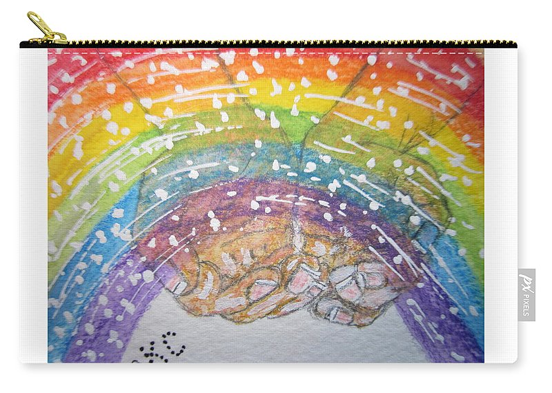 Rainbow Carry-all Pouch featuring the painting Catching A Rainbbow by Kathy Marrs Chandler