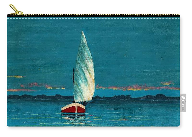 Landscape Painting Carry-all Pouch featuring the painting Catching The Breeze by Edith Peterson
