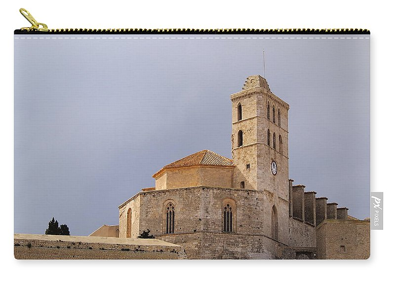 Cathedral Carry-all Pouch featuring the photograph Cathedral In Ibiza Town by Karol Kozlowski