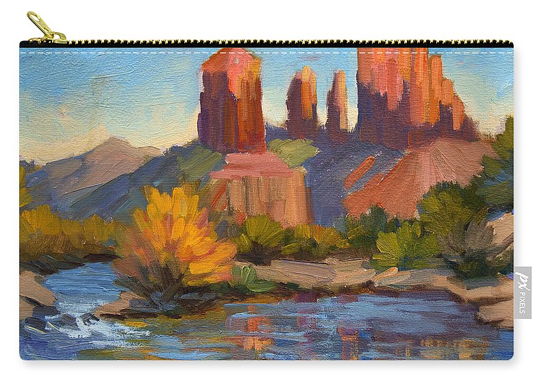 Cathedral Rock Carry-all Pouch featuring the painting Cathedral Rock 2 by Diane McClary