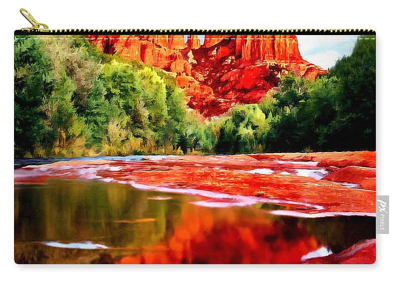 Cathedral Rock Sedona Arizona Carry-all Pouch featuring the painting Cathedral Rock Sedona Arizona by Bob and Nadine Johnston