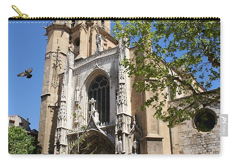 Cathedral Carry-all Pouch featuring the photograph Cathedral St Sauveur - Aix En Provence by Christiane Schulze Art And Photography