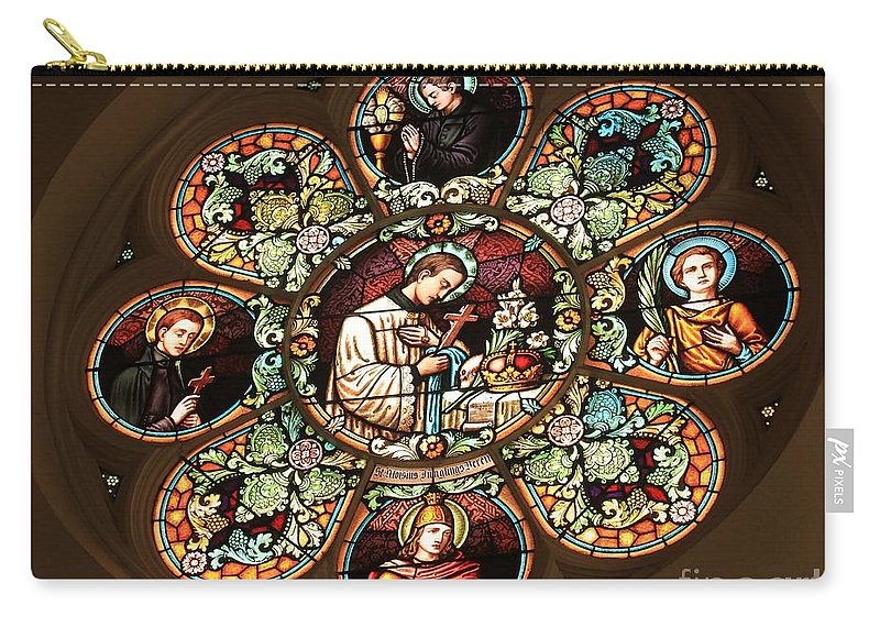 Cathedral Of The Plains Carry-all Pouch featuring the photograph Cathedral Stained Glass by Adam Jewell