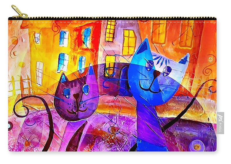 Graphics Carry-all Pouch featuring the digital art Cats 0366 Marucii by Marek Lutek