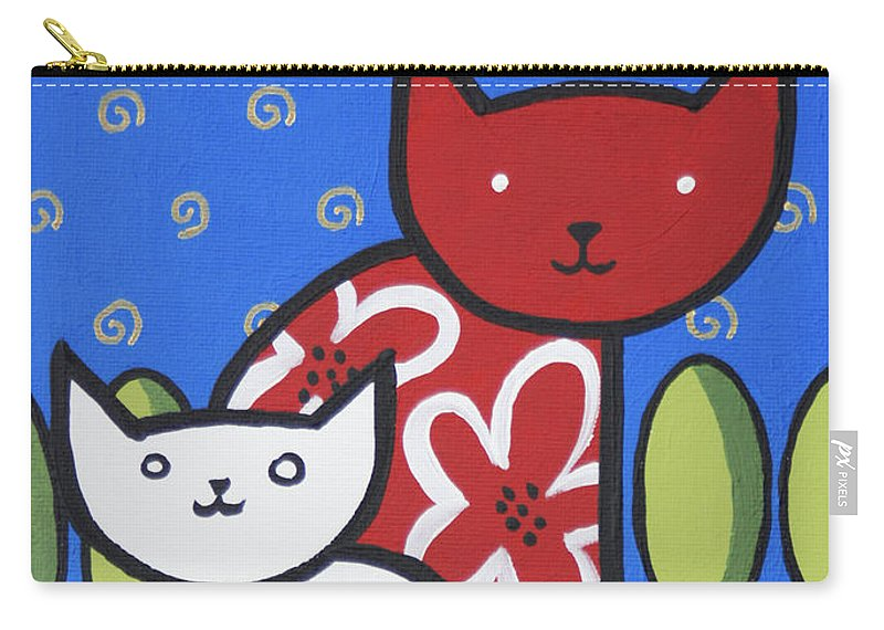 Painting Carry-all Pouch featuring the painting Cats 1 by Trudie Canwood