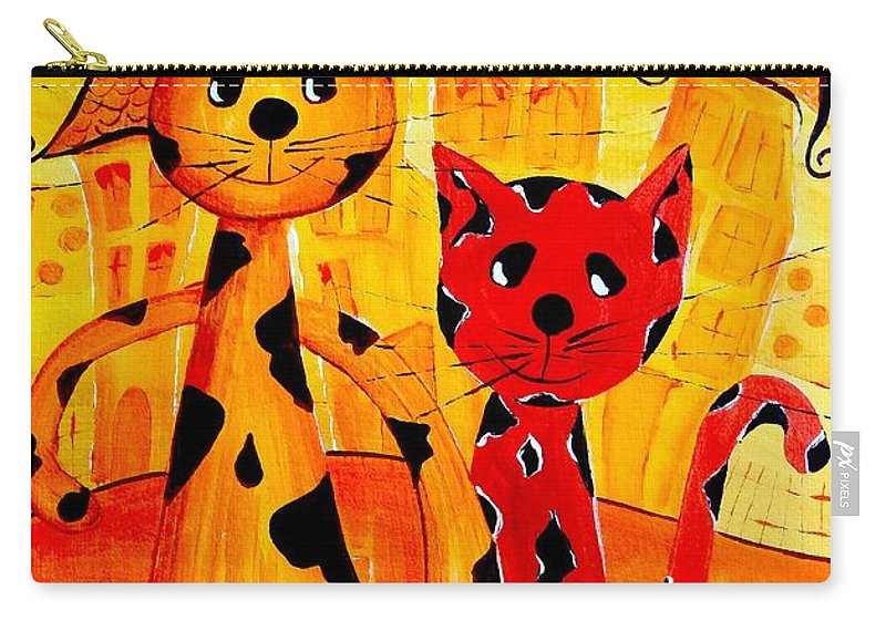 Cats Carry-all Pouch featuring the digital art Cats 650 by Marek Lutek