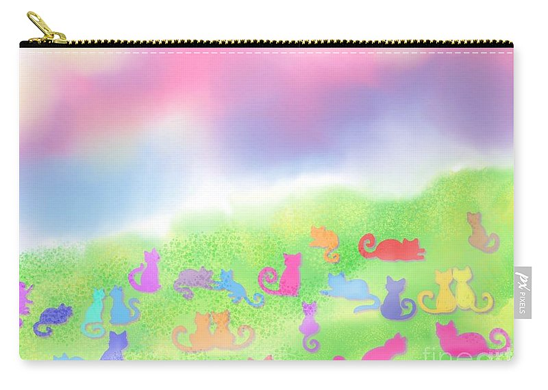 Cats Carry-all Pouch featuring the digital art Cats In The Meadow by Nick Gustafson