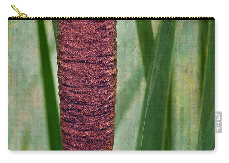 Brown Carry-all Pouch featuring the photograph Cattail With Texture by Nikolyn McDonald