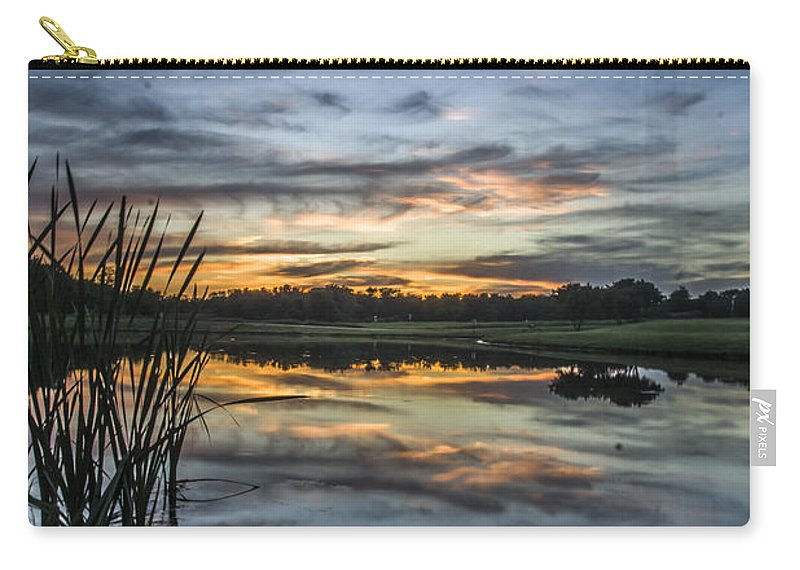 Carry-all Pouch featuring the photograph Cattails And Sunset by Paul Brooks