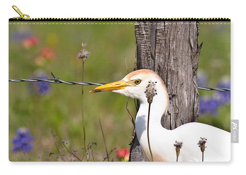 Animal Carry-all Pouch featuring the photograph Cattle Egret At Fenceline by Robert Frederick