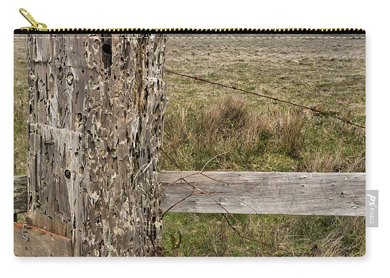 Fence Carry-all Pouch featuring the photograph Cattle Fence On The Stornetta Ranch by Kathleen Bishop