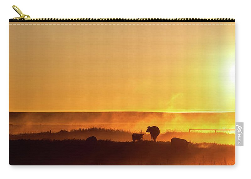 Scenics Carry-all Pouch featuring the photograph Cattle Silhouette Panorama by Imaginegolf