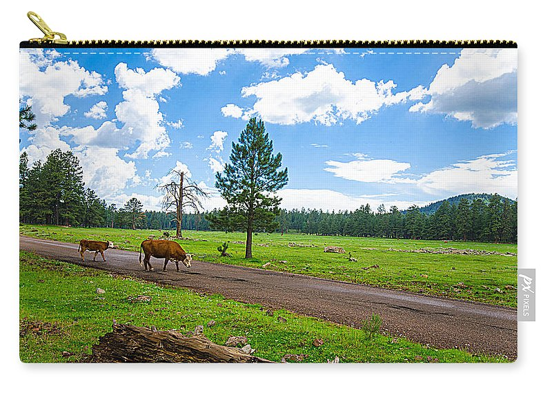 Cattle Carry-all Pouch featuring the photograph Cattles Roaming Through Hawley Lake Arizona by Michael Moriarty