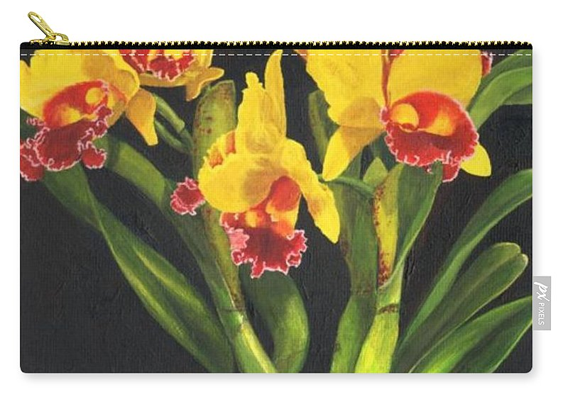 Flower Carry-all Pouch featuring the painting Cattleya Orchid by Richard Harpum