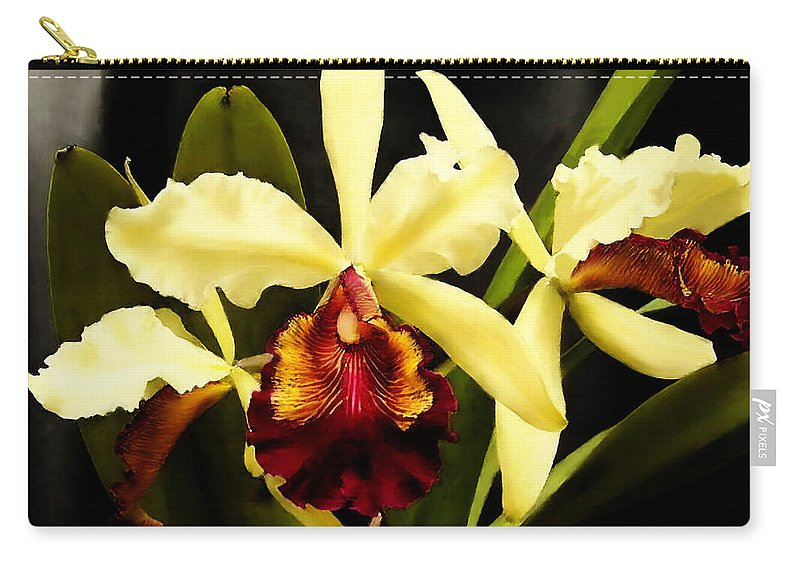 Cattaleya Carry-all Pouch featuring the painting Cattleya Too by Shere Crossman