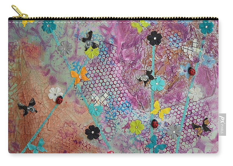 Flowers Carry-all Pouch featuring the mixed media Caught In A Net by Donna Blackhall