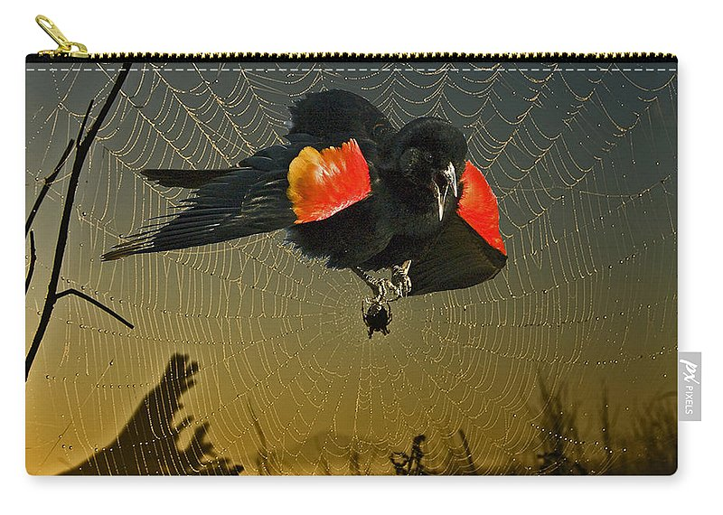 Red Wing Blackbird Carry-all Pouch featuring the photograph Caught Up by Rob Mclean