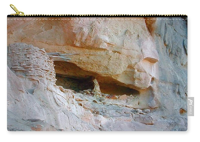 Cave Carry-all Pouch featuring the photograph Cave Dwelling Where Pictograms Were Found by George Pedro