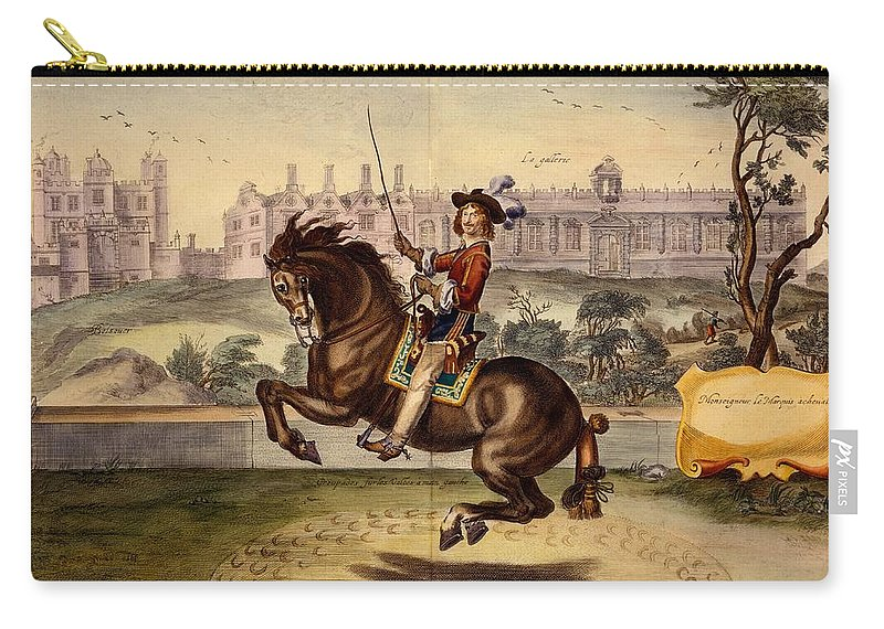 Male Carry-all Pouch featuring the drawing Cavendish Performing Volte by Abraham Jansz. van Diepenbeke