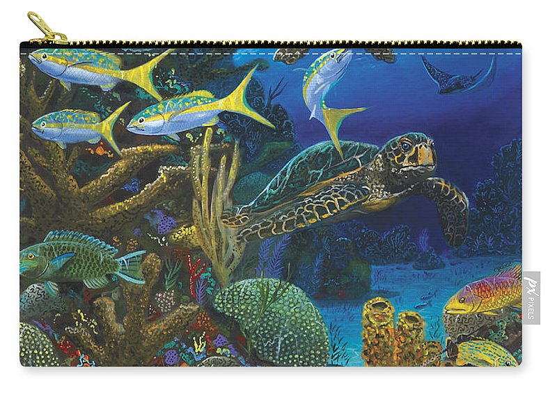 Turtle Carry-all Pouch featuring the painting Cayman Turtles Re0010 by Carey Chen