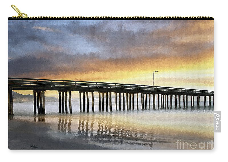 Cayucos Carry-all Pouch featuring the photograph Cayucos Pier Reflected Impasto by Sharon Foster