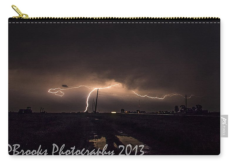 Carry-all Pouch featuring the photograph Cc And Cg Lightning Strike by Paul Brooks