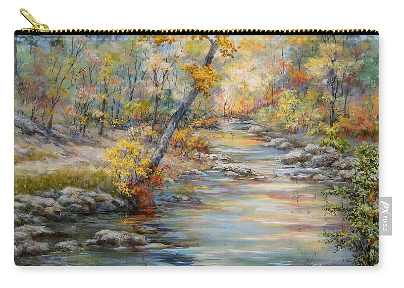 Landscape Carry-all Pouch featuring the painting Cedar Creek Trail by Virginia Potter