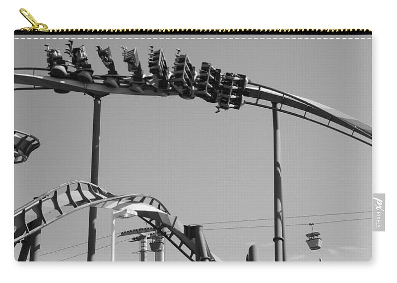 Cedar Point Roller Coaster Black And White Carry-all Pouch featuring the photograph Cedar Point Roller Coaster Black And White by Dan Sproul