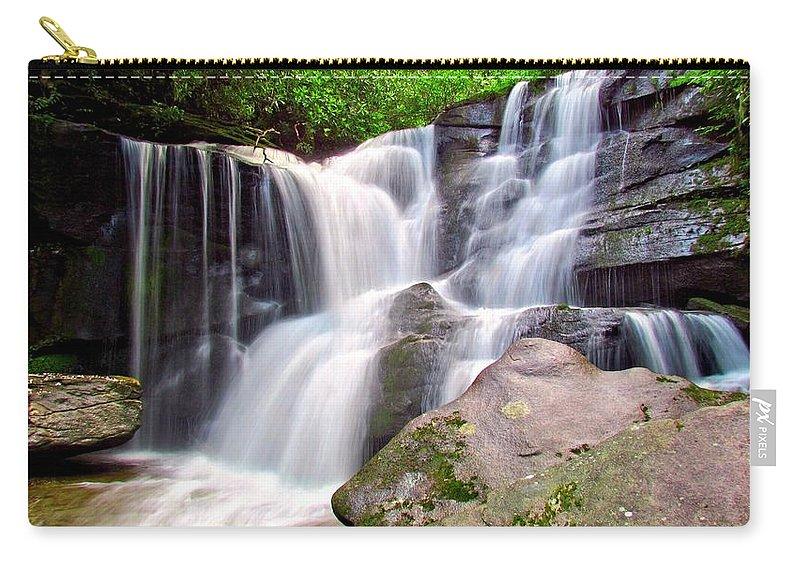 Pisgah National Foerst Carry-all Pouch featuring the photograph Cedar Rock Creek Falls by Carol Montoya