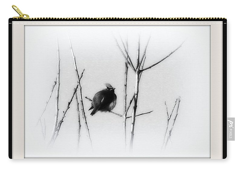 Cedar Waxwing Carry-all Pouch featuring the photograph Cedar Waxwing - Black And White by Travis Truelove
