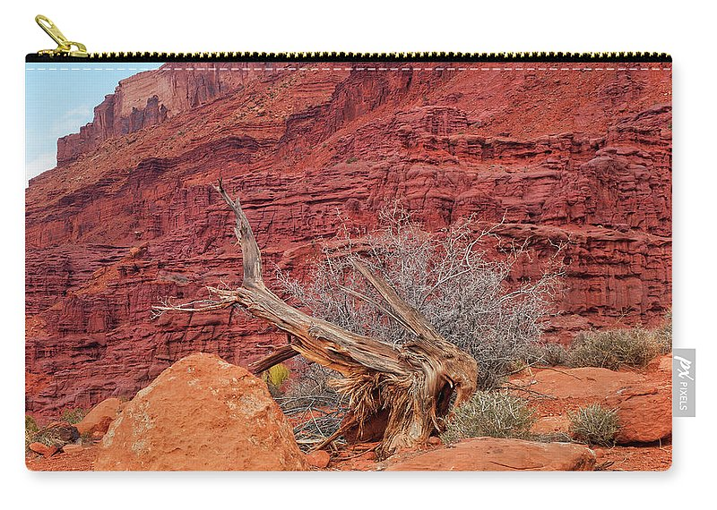 Cedar Tree Carry-all Pouch featuring the photograph Cedar Wood Tree, Fisher Towers, Moab by Fotomonkee